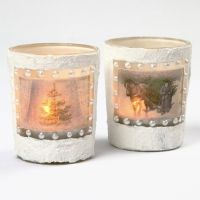 Candle Holders with 3D Snow Effect