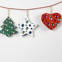 Papier-Mâché Christmas Decorations with Rhinestones