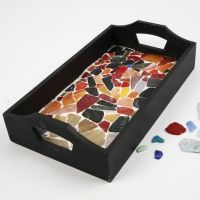 A Wooden Tray with Mosaics