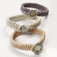 Braided Leather Bracelets with a Link Button Fastener