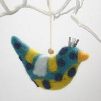 Needle-Felting on a Ready-Made Fabric Hanging Bird