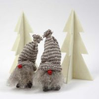 Pixies made from Cones with Hats made from Knitted Tube
