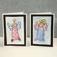 A Christmas Card with an Angel in Watercolour