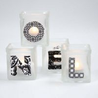 Candle Holders with Frost Effect and Decoupaged Text