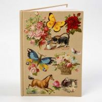A Note Book with a Collage of Vintage Die-Cuts