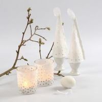 Straw Silk Paper as Decoration on Candle Holders & as Egg Warmers