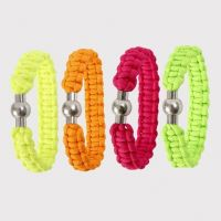 A Braided Bracelet made from thick neon-coloured Macramé Cord