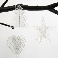Acrylic Hanging Decorations decorated with Silver 3D Liner