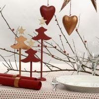 Copper painted and red painted Table Decorations