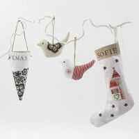 Decoupaged Cotton and Linen hanging Decorations
