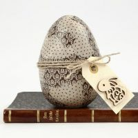 Decoupage on an Egg with a Manilla Tag attached to a Hemp Belt