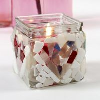 A Candle Holder with Glass Mosaic
