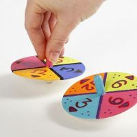 Spinning Tops decorated with Paint and Numbers