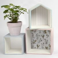Wooden Bookcases painted with Chalky Vintage Look Paint