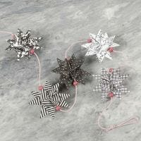 Woven Stars in Paris Design and wooden Beads on a String