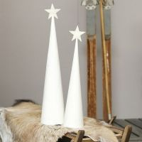 A Christmas Tree from a white-painted Cone with a glittery Star