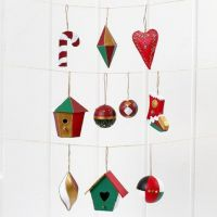 Christmas Papier-Mâché hanging Decorations, painted and decorated