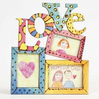Wooden Frames decorated with branded Designs and bright Colours
