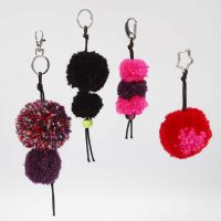 Keyring Fobs with Pom-Poms