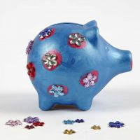 A painted and decorated Terracotta Piggy Bank