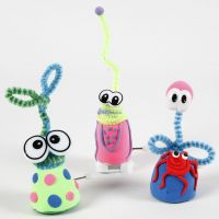 Wind-up Silk Clay Figures with Pipe Cleaners