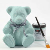 A Papier-Mâché Teddy painted with Chalky Vintage Look Paint