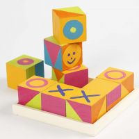 Wooden Cubes painted like the 'Noughts and Crosses' Game