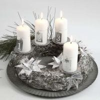 A silver Advent Wreath