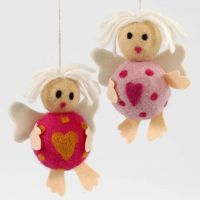 Cherubs made from Polystyrene Balls with Needle Felting