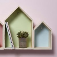 Wooden house-shaped Boxes decorated with Card