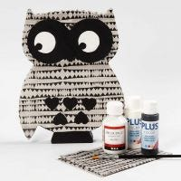 A free-standing Owl with Decoupage and painted Details