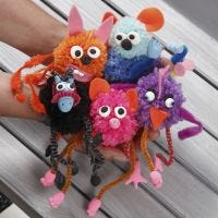 Fantasy Pom-pom Animals with Pipe Cleaners decorated with Felt and Silk Clay