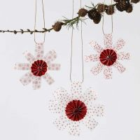 Hanging Decorations from Vellum Paper Star Strips decorated with a Rosette in the Middle and Glitter