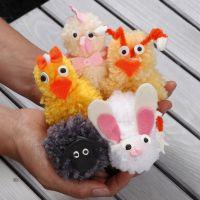 Pom-Pom Easter Animals made from Acrylic Yarn