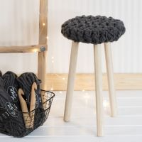 A Stool with a crocheted Seat from XL Manga Yarn