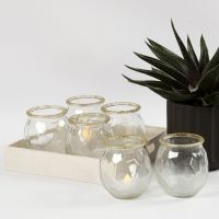 Frosted Candle Holders with a gold Rim