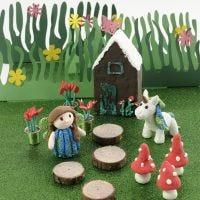 A Fairy House and a Foam Clay Unicorn