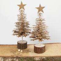 Christmas Trees from punched-out Faux Leather Paper Shapes