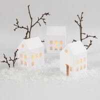 Illuminated Houses with LED Tea Lights