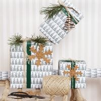 Christmas Gift Wrapping with a Christmas Tree Motif and Faux Leather Paper Decorations