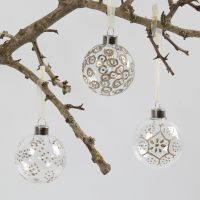 Glass Baubles decorated with a Glue Marker and Embossing Powder