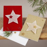 Glittery Christmas Cards with hanging Vellum Paper Stars