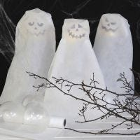 Ghosts made from Balloons  with battery-powered LED  Lights