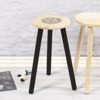 A wooden Stool decorated with Ethnic Patterns using a  Stencil