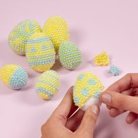 Polystyrene Easter Eggs decorated with Pearl Clay