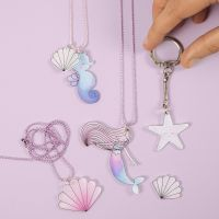 Mermaid and Sea Creatures Jewellery and a Keyring Fob from Shrink Plastic