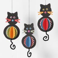 Hanging Card Cat Decorations with colourful Tummies and Pipe Cleaner Tails