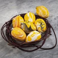 Terracotta Eggs decorated with Marble Paint