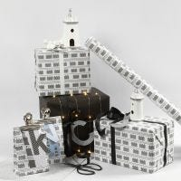 Black and white Gift Wrapping with Light Houses and Fairy Lights