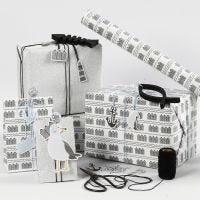 Black, white and silver glitter Gift Wrapping with Card Tags, wooden Fish and Shaker Metal Paper Clips
